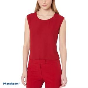 ANNE KLEIN SCOOP NECK SHELL TOP NWT XL TITIAN RED